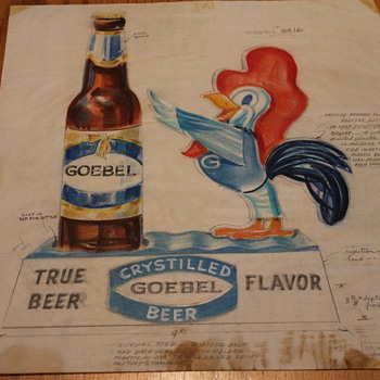 Goebel Back Bar Statue Design Drawing - Breweriana
