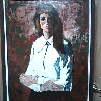 "Russell A. Swanson Acrylic on Canvas 26"" x 36""/ Titled "" A Study in Contrast"" / Circa 1960-70's  - Visual Art"
