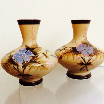 Bohemian Pk? Miniature Enamelled Pair Vases - Art Glass