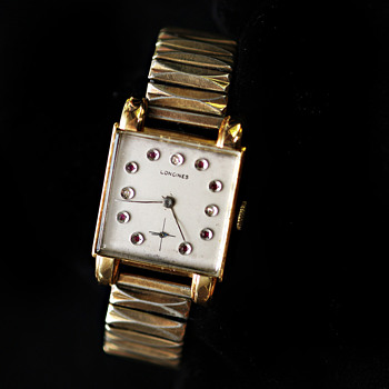 Longines Vintage 14k gold with jeweled face man&#039;s wristwatch - Wristwatches