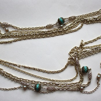 Chain Multi Strand Necklace signed Western Germany - Costume Jewelry
