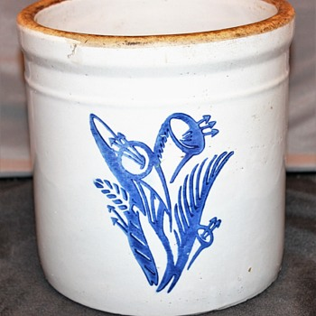 Old Stoneware Crock Blue Flowers