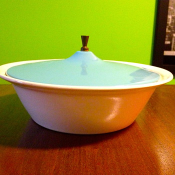 Blue and White Covered Dish with Spoon Slot... - Mid-Century Modern