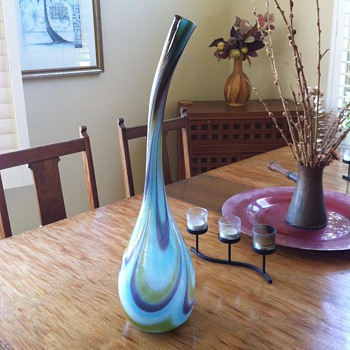 Vintage Tear Drop Blown Glass Art vase - Art Glass
