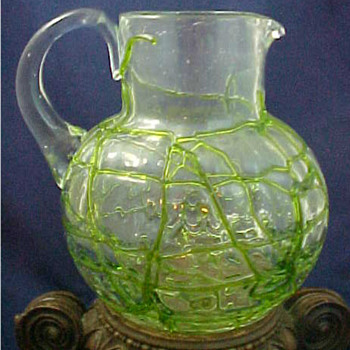 1904 Kralik Alligator Crackle Pitcher.... - Art Glass