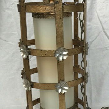 Medievalesque pendant lamp w/ cyclindrical white glass - Lamps