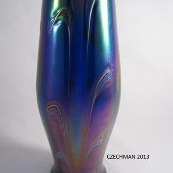 GORGEOUS Rindskopf Cobalt Blue Heavily Iridized Art Glass Vase Feathered Decor 1900 - Art Glass