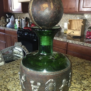 Yard sale find- leather bound glass decanter? - Bottles