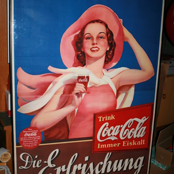 1937 summer girl, big poster - Coca-Cola