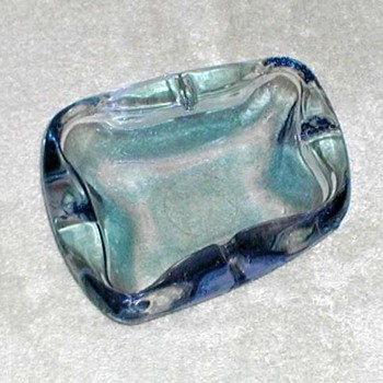 Blue Glass Ashtray