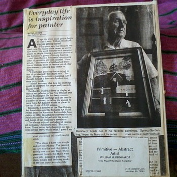 Newspaper Article on William Reinhart, New Orleans Primitive and Abstract Artist