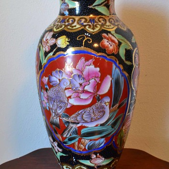 hand painted flower and bird large porceline vase