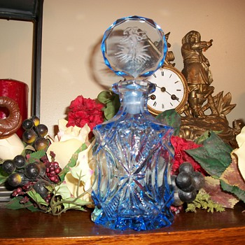 Tall Czech blue glass perfume bottle