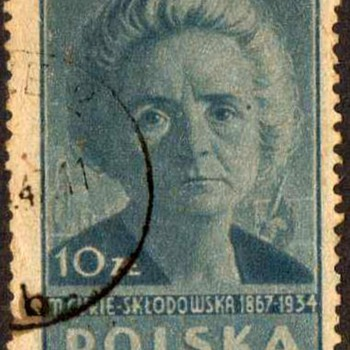 "1947 - Poland ""Marie Curie"" Postage Stamp"