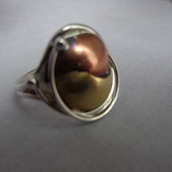 Silver, Brass, and Copper Ring - Marked LC and Sterling - Fine Jewelry