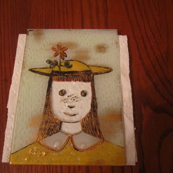Higgins Mid Century Fused Art Glass Yellow Dress Girl with Flower in her Hat & Orange Dress Girl with a Bird in her Hat  - Art Glass