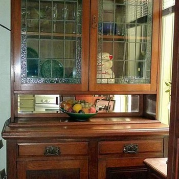 Old Oak & Leaded Glass Cabinet - Furniture