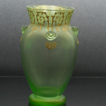 Loetz Olympia enameled vase with applied prunts