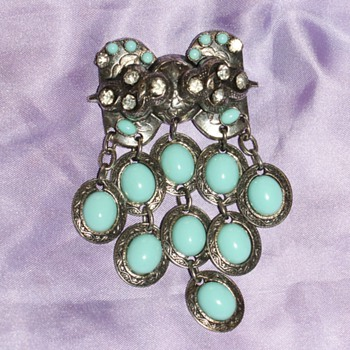 Costume Pin - Rhinestones and Blue Glass - Costume Jewelry