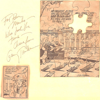 Signed Garry Trudeau/Doonesbury newspaper comic strip