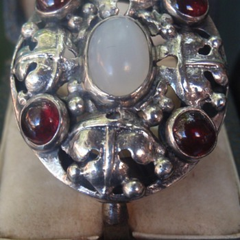 Arts & Crafts Moonstone & Garnet Ring - Arts and Crafts