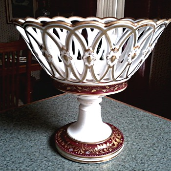 Porcelain Lattice Work Centerpiece / Hand Painted Red and Gold Gilt Design / Unknown Maker and Age