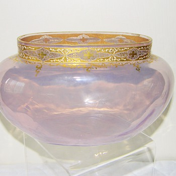 Early Loetz DEK I/94 Pink/Purple Enameled Jardinière Bowl Vase ca 1890's