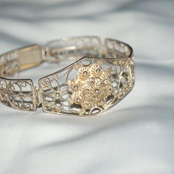 Unusual Silver Filigree Bracelet
