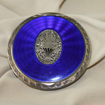 Blue Enamel Antique Compact - Accessories