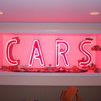 "Neon letters retrieved from old ""Sear Service Center"" location"