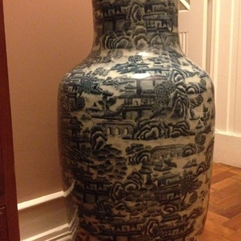 Large Asian Vase or Umbrella Stand
