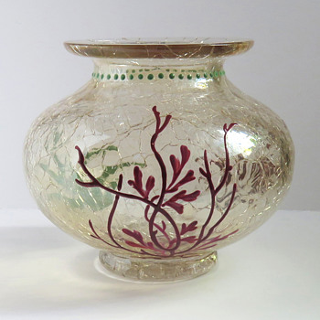 Moser Topaz Crackle Bowl with Seaweed - Art Glass