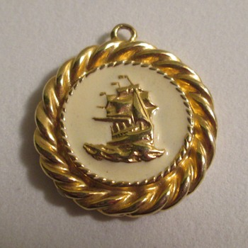 Medallion, sailing ship - Costume Jewelry