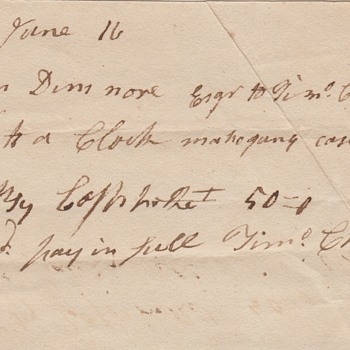 1807 Receipt for Timothy Chandler Clock