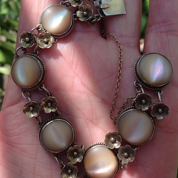 Bernard Instone? MOP Gold Wash Silver Bracelet - Art Deco