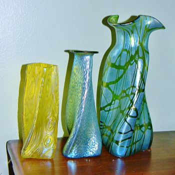 Loetz Pampas & Creta Silberiris Martelé Propeller & Kralik Spiraloptisch Slow Twist Vases
