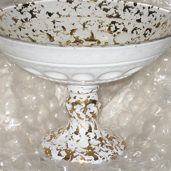 White Glass Gold Flecks Under/Over Glass Compote Pressed Glass - Glassware