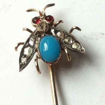 Fly power! Stick pin, turquoise glass, fly.