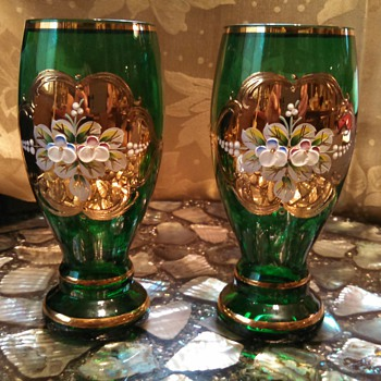 Czech Green Glass with enamel Floral and Gold