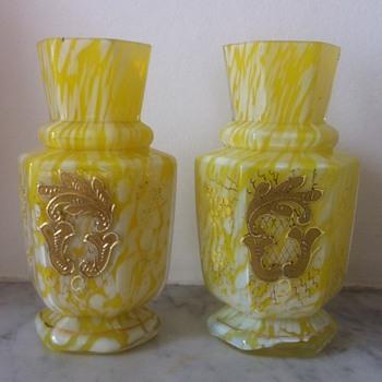 Pair of Welz hexagonal bud vase - variegated yellow, enamelled