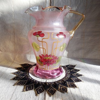 Weekend Finds Bohemian Glass Pitcher and Beaded Necklace - Art Glass