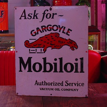 1920's Porcelain Sign...Ask for Gargoyle Mobiloil...Authorized Service Vacuum Oil Company - Petroliana