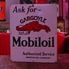 1920's Porcelain Sign...Ask for Gargoyle Mobiloil...Authorized Service Vacuum Oil Company