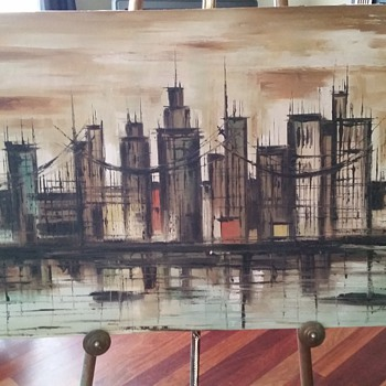 Brooklyn Bridge ?--Vintage--Oil Painting~ Signed
