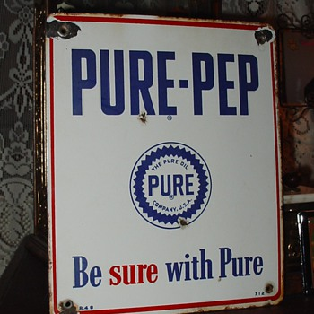The Pure Oil Company...Pure-Pep...Porcelain Pump Sign 1948...Three Colors - Petroliana