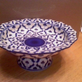 Blue & White Dish - Art Glass