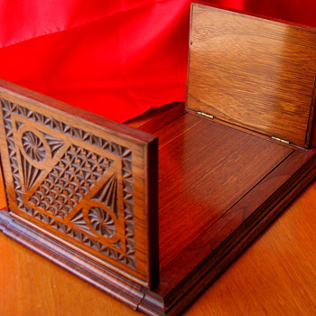 Vintage Carved Wood Desk Book Sliding Holder