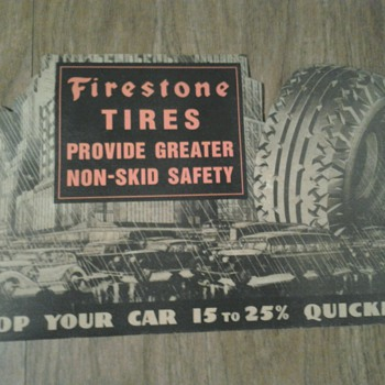 1940s Firestone Tires Die Cut Cardboard Litho Sign