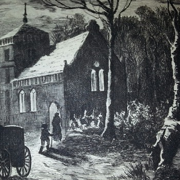 ORIGINAL ETCHING (AT THE HEAD OF THE VILLAGE STREETS) BY C. VOLKMAR - Posters and Prints