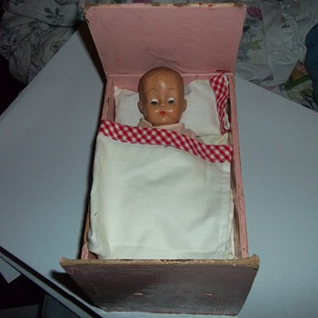 VINTAGE DOLL/HOMEMADE CRIB